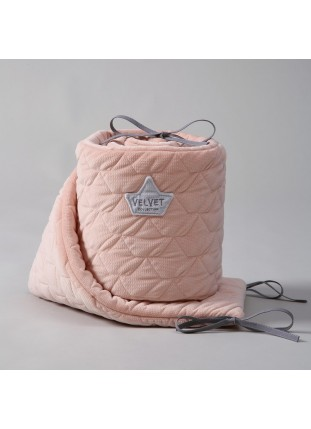 Velvet Bed Bumper - Powder Pink