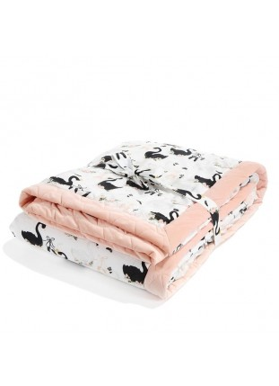 "Blanket ""XL"" Velvet - Moonlight Swan / Powder Pink"