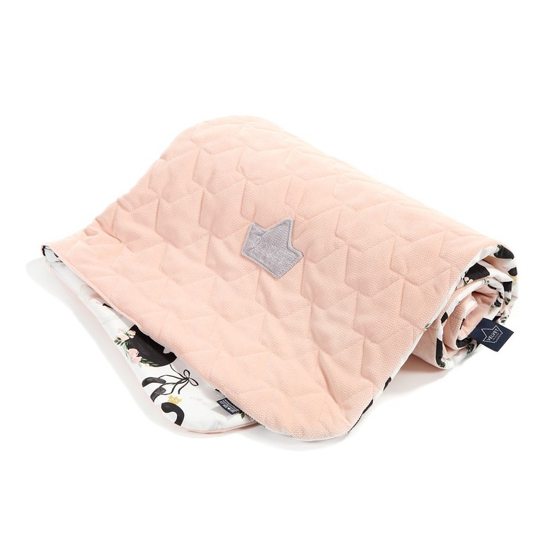 "Baby Blanket ""Velvet"" - Moonlight Swan / Powder Pink"