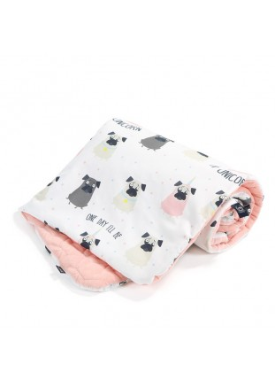 "Blanket ""M"" Velvet Slim - Doggy Unicorn / Powder Pink"