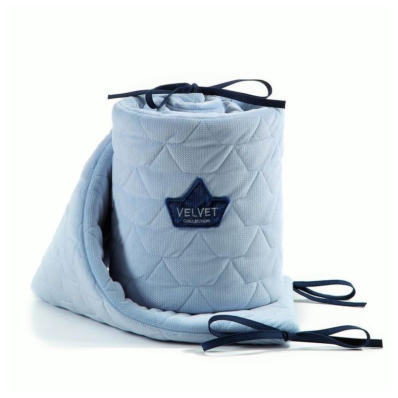 Bed Bumper Velvet - Dusty Blue
